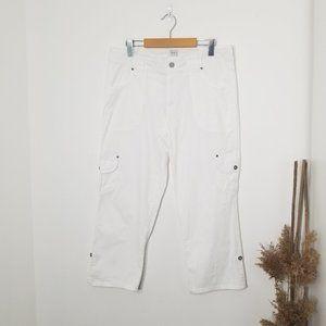 dash   White Stretch Capri Cargo Pants Size 10